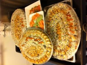 Team building sushi plates